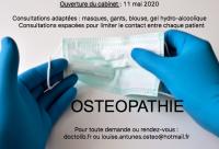Votre ostéopathe à Paris 12 : ouverture du cabinet 11 mai 2020